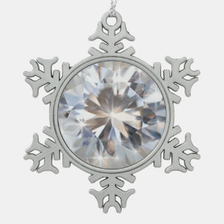shine rounded diamond pewter snowflake decoration
