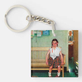 Shiner or Outside the Principal's Office Double-Sided Square Acrylic Key Ring