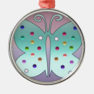 Shiney Butterfly Silver-Colored Round Decoration