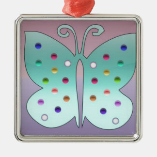 Shiney Butterfly Silver-Colored Square Decoration