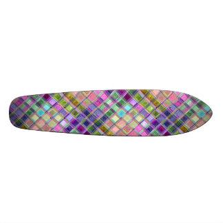 Shiney Modern Rainbow Tile Art Custom Skateboard