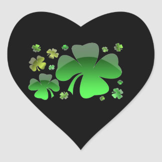 Shiney Shamrocks Heart Sticker