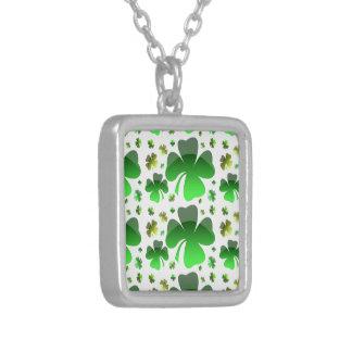 Shiney Shamrocks Silver Plated Necklace