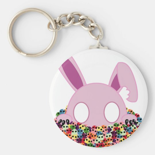 Shinikaru the Bunny - Sugar Skulls Basic Round Button Key Ring