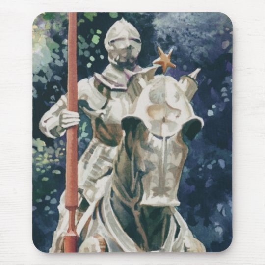 """""""Shining Armour"""" Knight Watercolor Mouse Mat"""