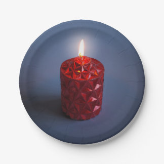 Shining candle paper plate