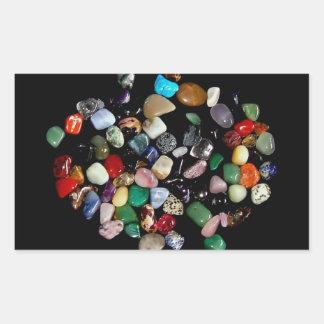 Shining crystals and gemstones rectangular sticker