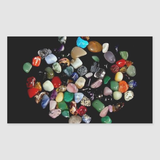 Shining crystals and gemstones rectangle stickers