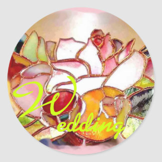 Shining Flowers Glass Art Stickers WEDDING