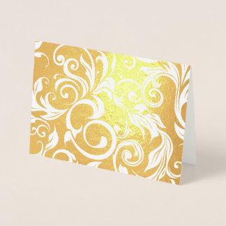 Shining Gold Foil Glitter Wallpaper Swirl Pattern Foil Card