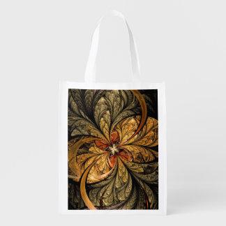 Shining Leaves Fractal Art Reusable Grocery Bag