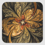 Shining Leaves Fractal Art Square Stickers