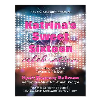 Shining Lights and Fireworks Sweet Sixteen Invite