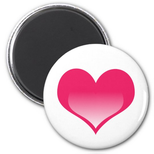 Shining Pink Heart 6 Cm Round Magnet