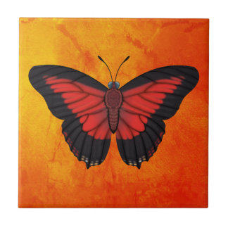 Shining Red Charaxes Butterfly Tile