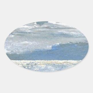 Shining Sea - Ocean Art Sea Waves Paintings Oval Sticker