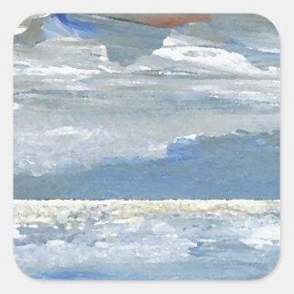 Shining Sea - Ocean Art Sea Waves Paintings Sticker