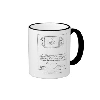 Shining star over square and Compass and lead Ringer Mug