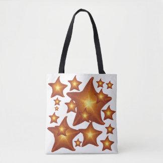 Shining Starfish bright orange design Tote Bag