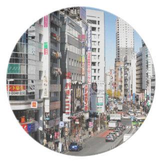 Shinjuku district in Tokyo, Japan Plate