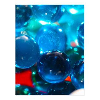 Shinning blue glass beads postcard