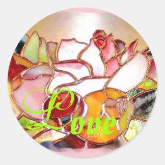 Shinning Flowers Art Glass Stickers LOVE