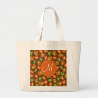 Shiny autumn atmosphere with acorns and oak leaf large tote bag