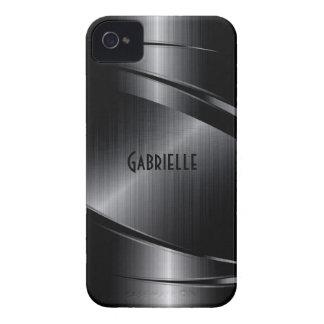 Shiny Black Design Brushed Aluminum Look iPhone 4 Case