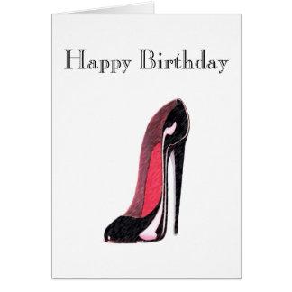 Shiny Black Left Stiletto Shoe Card