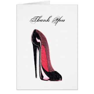 Shiny black stiletto shoe card