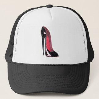 Shiny black stiletto shoe trucker hat