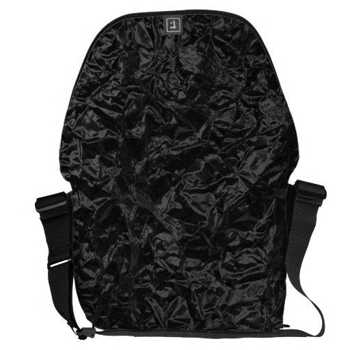 Shiny black wrinkled texture messenger bag