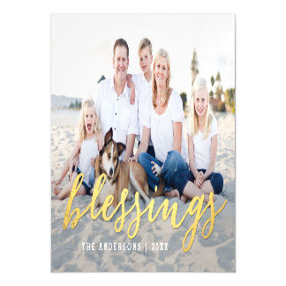 Shiny Blessings Holiday Photo Thin Magnetic Card