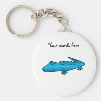 Shiny blue alligator key ring