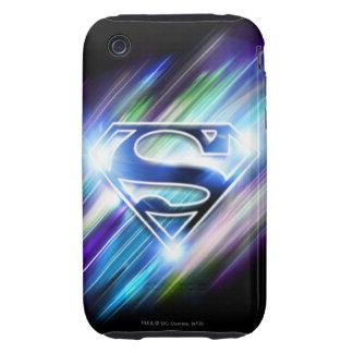 Shiny Blue Burst Superman Logo iPhone 3 Tough Cases