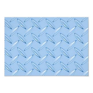 shiny blue diamond plate textured 9 cm x 13 cm invitation card