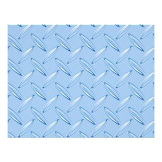 shiny blue diamond plate textured 21.5 cm x 28 cm flyer
