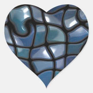 Shiny Blue Distorted Tiles Heart Sticker