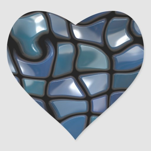 Shiny Blue Distorted Tiles Heart Stickers