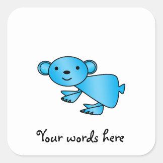 Shiny blue koala square sticker
