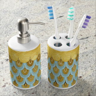 Shiny Blue Teal Glitter Mermaid Fish Scales Soap Dispenser And Toothbrush Holder