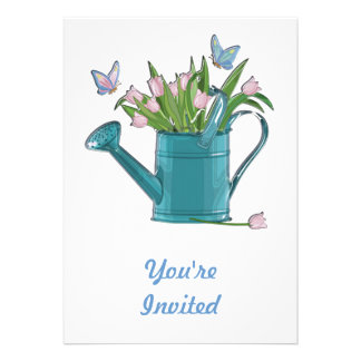 Shiny Blue Watering Can with Pink Tulips Custom Invitation
