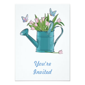 Shiny Blue Watering Can with Pink Tulips 5x7 Paper Invitation Card