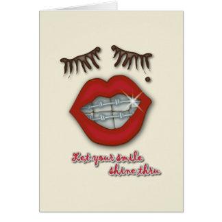 Shiny Braces, Red Lips, Mole, and Thick Eyelashes Card