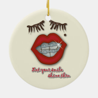 Shiny Braces, Red Lips, Mole, and Thick Eyelashes Christmas Ornament