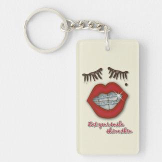 Shiny Braces, Red Lips, Mole, and Thick Eyelashes Key Ring