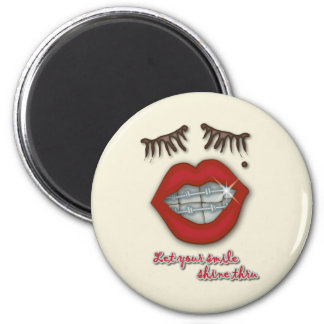 Shiny Braces, Red Lips, Mole, and Thick Eyelashes Refrigerator Magnets