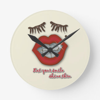 Shiny Braces, Red Lips, Mole, and Thick Eyelashes Round Clock