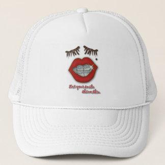 Shiny Braces, Red Lips, Mole, and Thick Eyelashes Trucker Hat