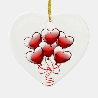 Shiny Bright Love Heart Balloons Christmas Ornament